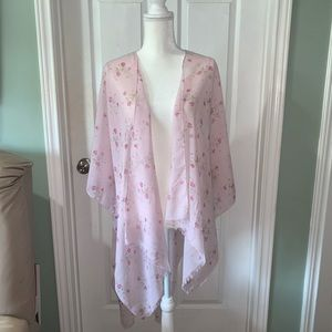 Women's Chaps Lt  Pink Floral Cover up Shall NWT